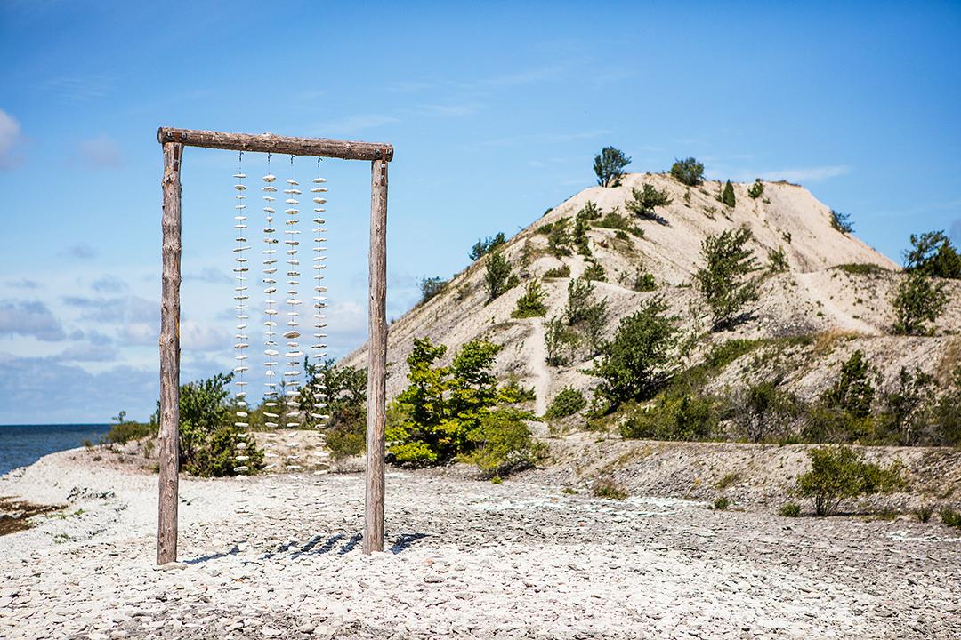 ställning på strand