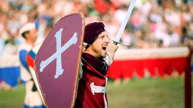Medeltidsveckan, man with sword, Visby, Gotland, Sweden, Sverige